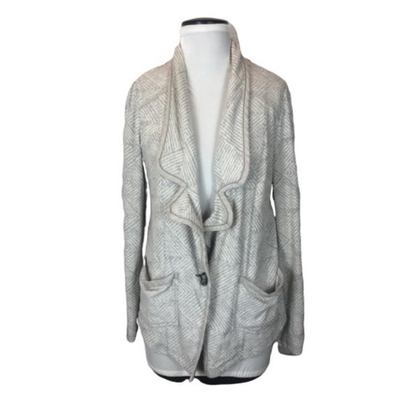 Free People 1970 Sweater Blazer White Grey Medium